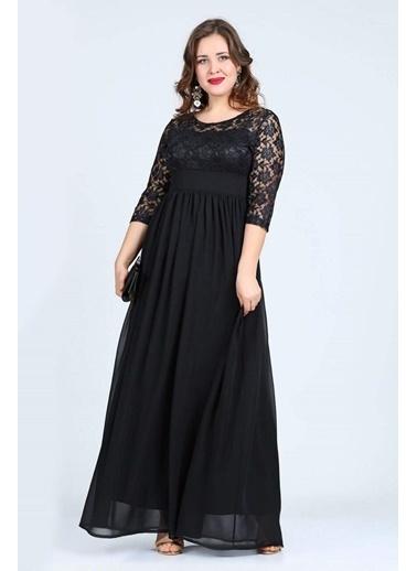 Angelino Butik Büyük Beden Uzun Abiye Elbise KL4009K Siyah